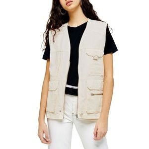 NWT Topshop Utility Vest in Off White